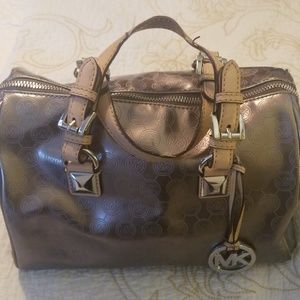 Michael Kors bag silver with beige accents